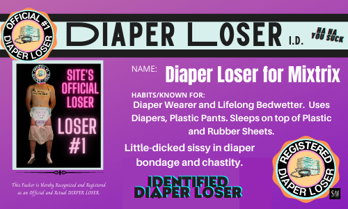 diaper losers dot com badge and ID for the loser registry